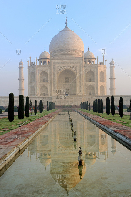 March 17, 2011: India, Agra, Taj Mahal reflecting in a pond at first light