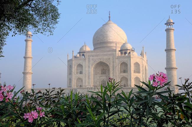 India, Agra, Taj Mahal in the morning mist