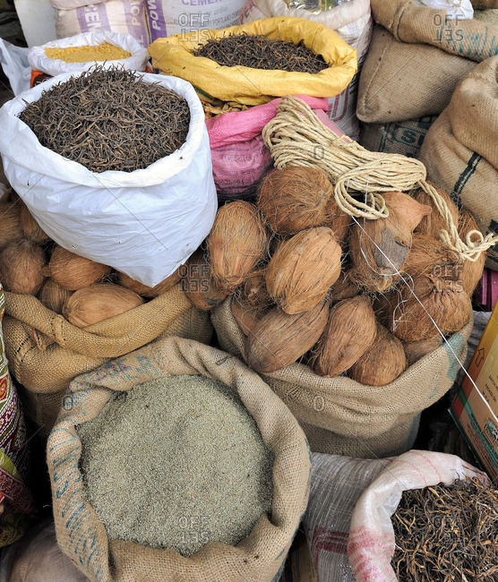 March 22, 2011: India, Rajasthan, bags of coconuts and seeds at the Nawalgarh market