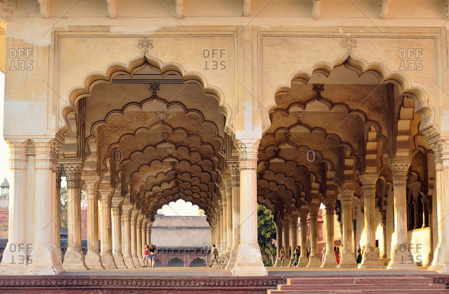 March 16, 2011: India, Uttar Pradesh, The Diwan-i-Am, or Hall of Audience in the Red Fort of Agra