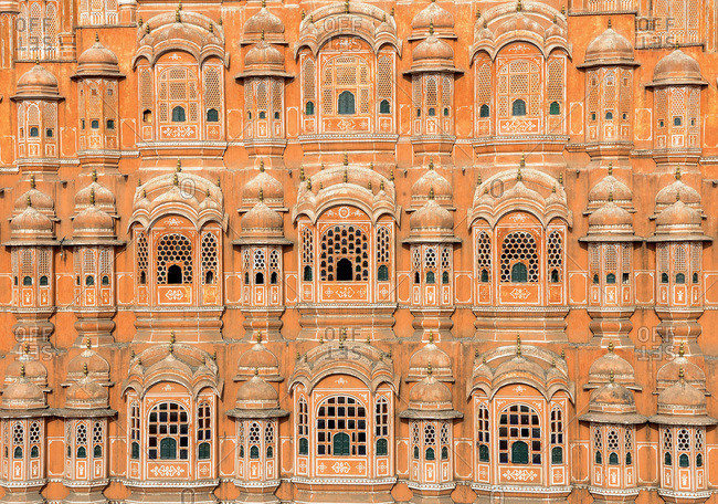 India, Rajasthan, Jaipur, detail of the Palace of Winds (Hawa Mahal)