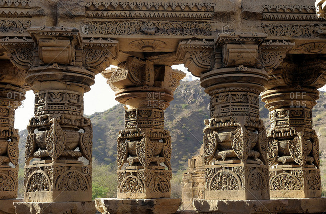 India, Rajasthan, sculpted columns of a Jain temple in Kiradu (10th-11th Century)