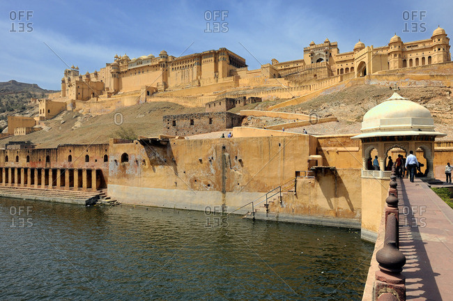 March 19, 2011: India, Rajasthan, Amber Fort along the Moata Lake