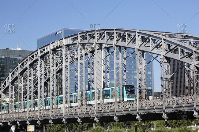 July 6, 2015: Paris. 13th district. Sight on the elevated railway with the top of the Seine.