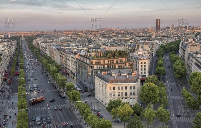 August 3, 2015: France, Ile de France, Paris, 8th district, view of the Champs-Elysees and avenue Marceau from the Arc de Triomphe, urban landscape