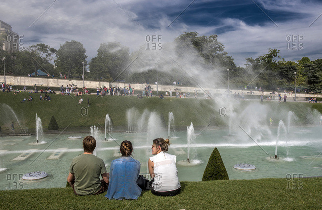 August 2, 2015: France, Ile de France, Paris, 16th district, tourists in front of the fountains in the Trocadero Gardens