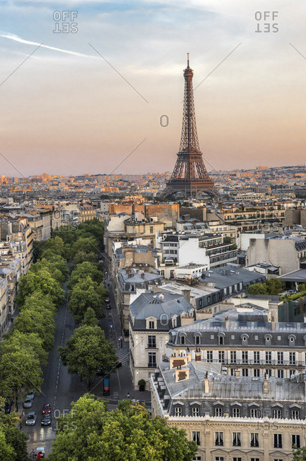 August 3, 2015: France, Ile de France, Paris, 8th district, the Eiffel Tower from the Arc de Triomphe, in the evening