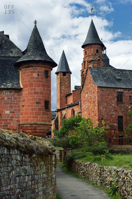 Europe, France, tower and Church of Collonges-la-Rouge Correze