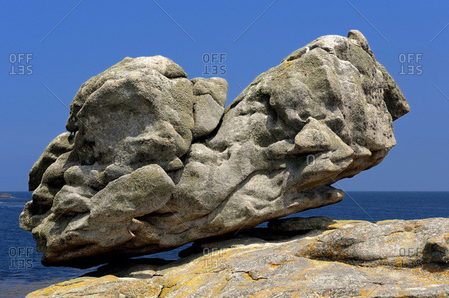 France, Brittany, Finistere, cut rock on the Sein Island