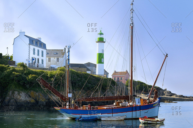 June 4, 2010: France, Brittany, Finistere, 'Andre Yvette' tall ship at the entrance of the Doelan port