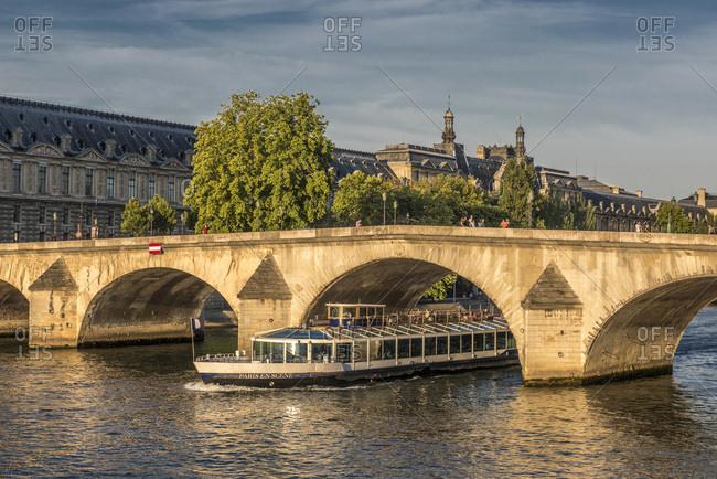 August 2, 2015: France, Ile de France, Paris, 7th district, the Palais du Louvre and Pont Royal on the Seine