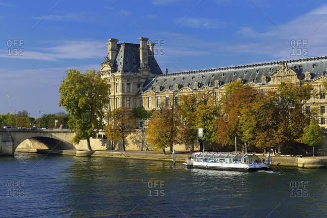 October 14, 2015: Europe France Louvre and the Seine in Paris