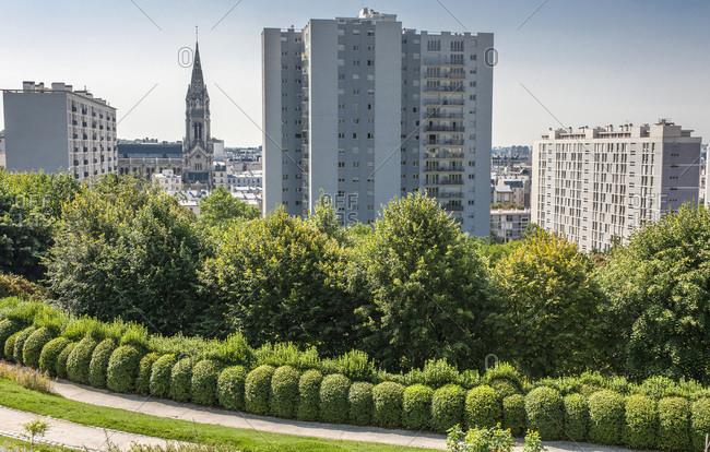 France, Paris 20th district, Parc de Belleville and view on the city