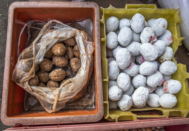 November 12, 2015: Myanmar, Yagon, eggs on the street market of the Chinese district