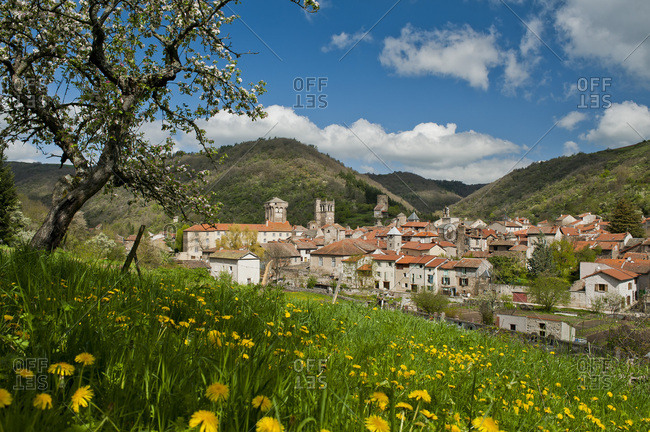 France, Auvergne-Rhones-Alpes, Haute-Loire, the village of Blesles, surrounded by orchards