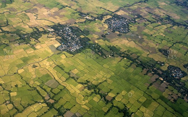 myanmar, Shan State, Heho region, aerial view of the countryside