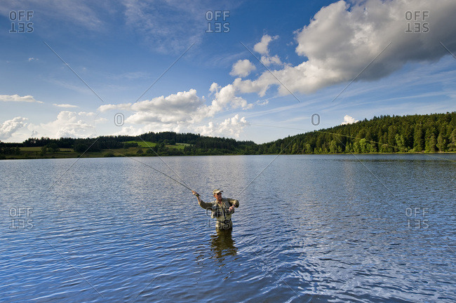 June 25, 2009: France, Auvergne-Rhones-Alpes, Haute-Loire, Malaguet Lake, fly-fishing reserve