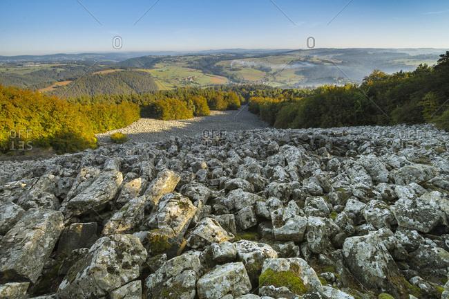 France, Auvergne-Rhones-Alpes, Haute-Loire, lava flow in Bourianne