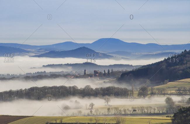France, Auvergne-Rhones-Alpes, Haute-Loire, Le Velay's climate, like here in Vergezac, favors the development of Le Puy green lentils' qualities