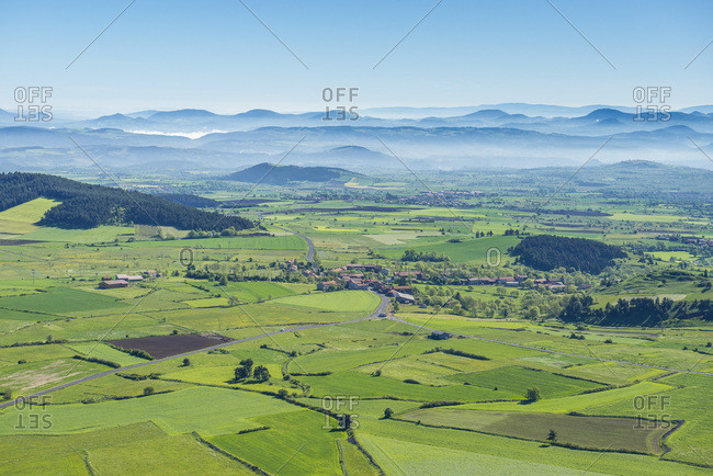 France, Auvergne, Le Puy green lentils fields in the Deves massif