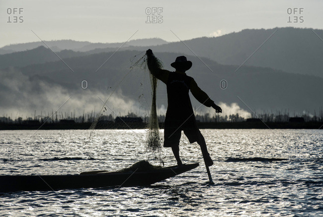 Myanmar, Shan region, lake Inle, fisherman in a dugout