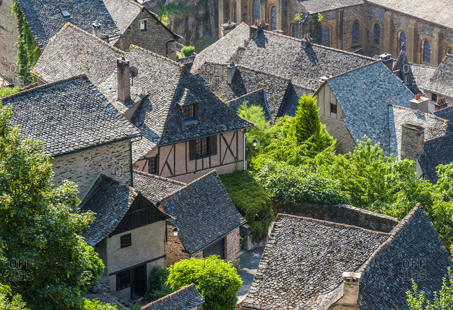 "France, Aveyron, Conques, stone roofs (labelled ""Most Beautiful Village in France"")"