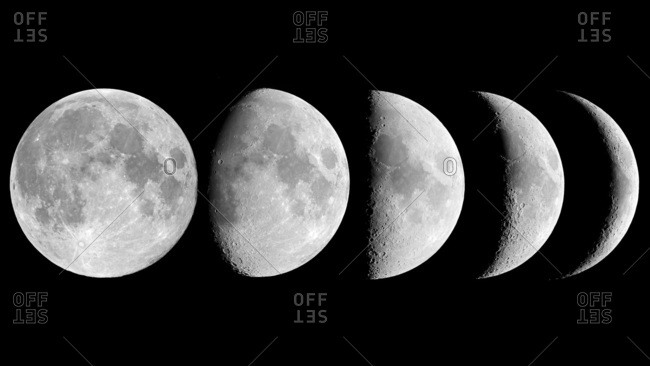 The main phases of the Moon.