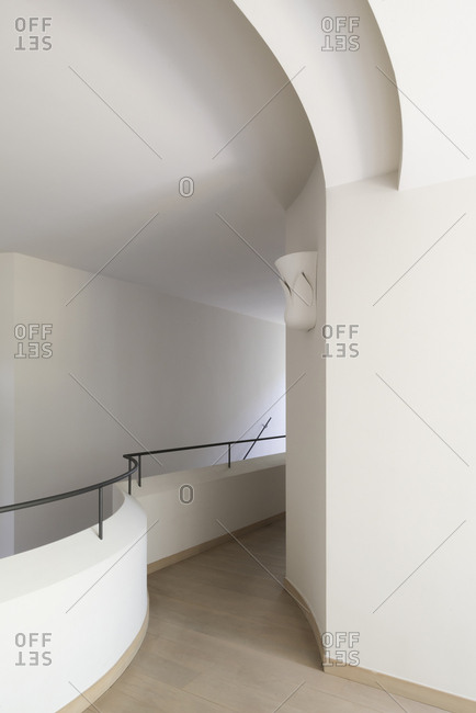 Curved walkway of an interior stairwell