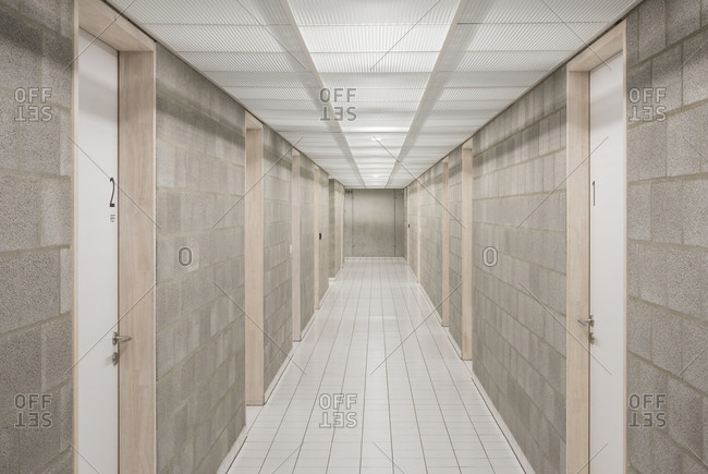 Interior of a minimalistic hallway