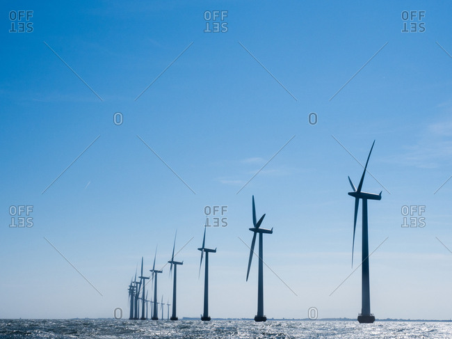 Large turbines at offshore wind farm near Copenhagen