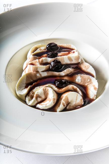 Freshly prepared cherries jubilee served in a bowl