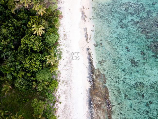 A top down view of a tropical beach