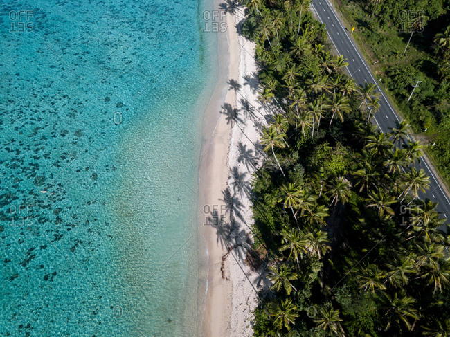 Aerial view of an empty road on the beach, Fiji