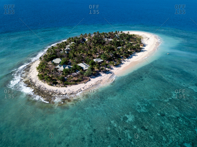 Aerial view of Naveuni island in Fiji