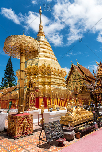 Chiang Mai, Thailand - June 7 2018: From below view of Wat Phrathat Doi Suthep temple under blue sky in vivid sunlight, Thailand