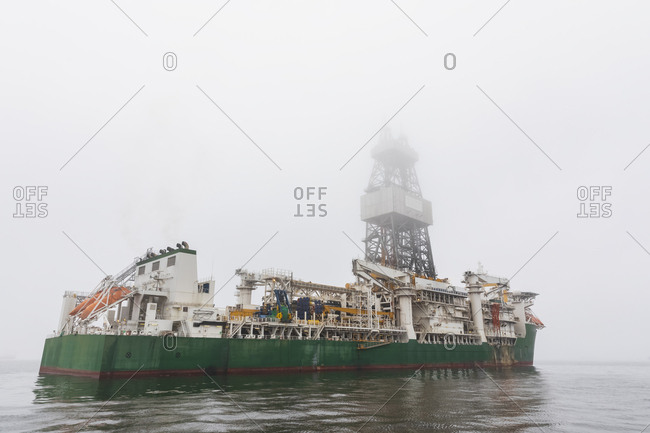 Namibia- Walvis Bay- oil rig on a boat at haze