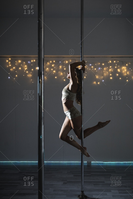Pole dancer during a performance