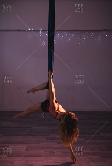 Aerial silks performer during a performance