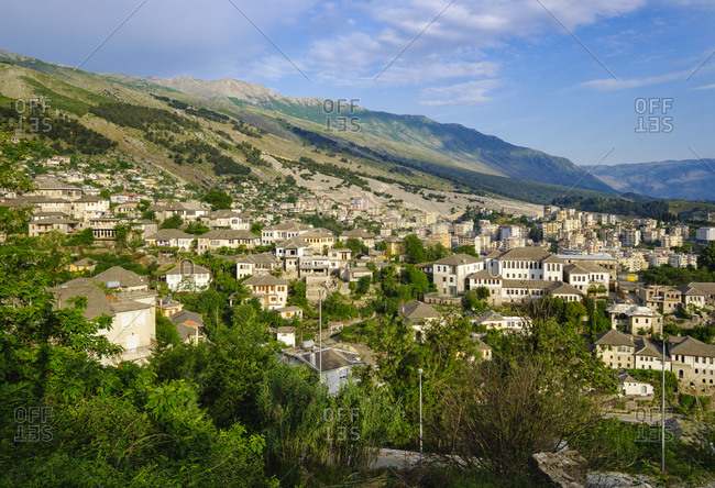 Albania- Gjirokaster- city view and Mali i Gjere mountains