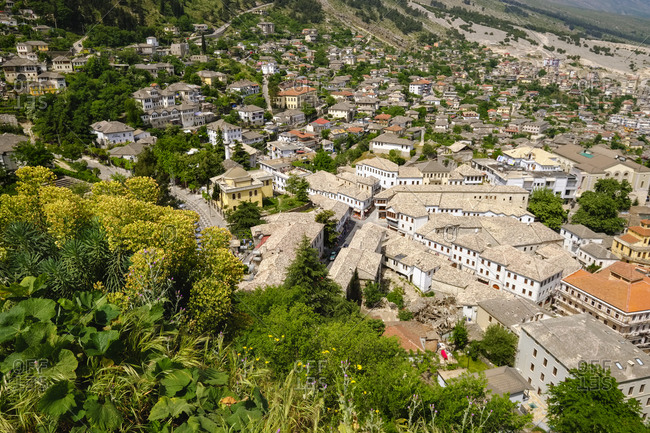 Albania- Gjirokaster- Old town with Qafa e Pazarit