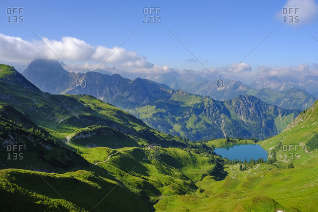 Germany- Bavaria- Allgaeu Alps- Oberstdorf- view from Zeigersattel to Seealpsee with Hoefats