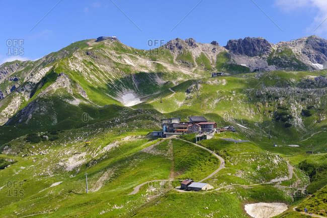 Germany- Bavaria- Allgaeu- Allgaeu Alps- Hoefatsblick summit station at Nebelhorn and Wengenkopf