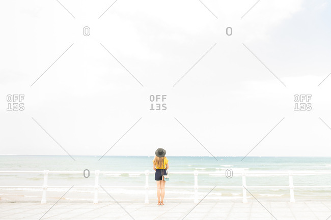 Back view of young woman in elegant outfit standing near fence on embankment and enjoying view of amazing sea
