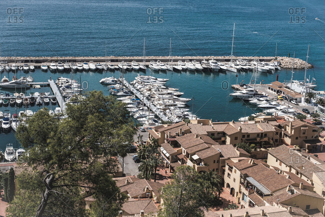 Top view of boats moored in the marina
