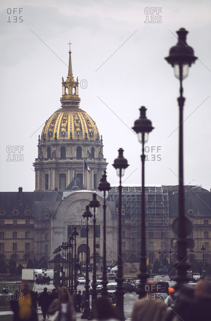 Historic building with golden cupola in Paris