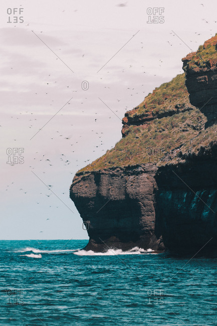 View of huge cliff formation above turquoise ocean water with flock of birds flying in air