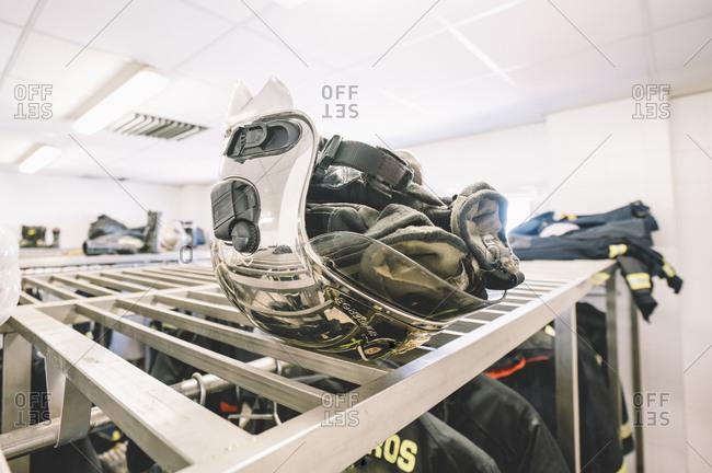 Helmet of firemen in locker room.
