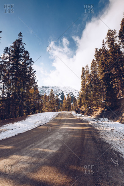 snowy road in Canada