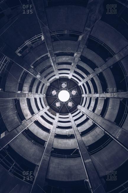 September 11, 2018: Spiral view of concrete underground parking