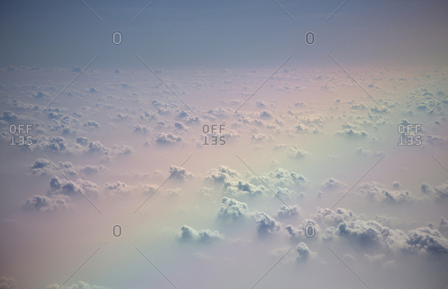 View of clouds from jet plane